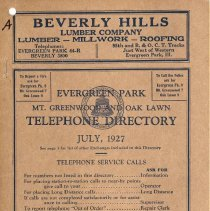 Image of 1927, Evergreen Park and Oak Lawn Telephone Directory - This item is a telephone directory for Blue Island, Evergreen Park, Mount Greenwood and Oak Lawn printed in July of 1927.  The cover is a light brown with black lettering and images.
