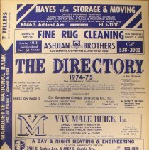 Image of 1974-1975, Independent Directory  - This item is an independent telephone directory for Chicago Lawn, West Lawn, Ashburn, Hometown, Oak Lawn, and Burbank published in 1974.  The cover is white and dark blue and it contains business listings.