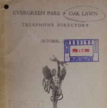Image of 1948, Evergreen Park - Oak Lawn Telephone Directory - This item is a telephone directory for Evergreen Park and Oak Lawn published in October of 1948.  The cover is beige with black lettering and an image of a statue.