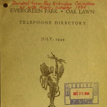 Image of 1949, Evergreen Park - Oak Lawn Telephone Directory - This item is a telephone directory for Evergreen Park and Oak Lawn published in July of 1949.  The cover is light green with black lettering and an image of a statue.