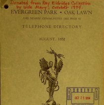 Image of 1952, Evergreen Park - Oak Lawn Telephone Directory - This item is a telephone directory for Evergreen Park and Oak Lawn published in August of 1952.  The cover is a light green with black lettering and an image of a statue.