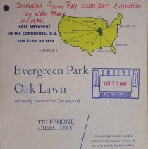 Image of 1955, Evergreen Park Oak Lawn Telephone Directory - This item is a telephone directory for Evergreen Park and Oak Lawn published in April of 1955.  The cover is beige with blue lettering and yellow images.