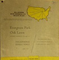 Image of 1956, Evergreen Park - Oak Lawn Telephone Directory - This item is a telephone directory for Evergreen Park and Oak Lawn published in April of 1956.  The cover is light green with black lettering and yellow images.