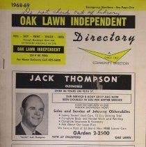 Image of 1968 - 1969, Oak Lawn Independent Directory - This item is an Oak Lawn Independent telephone directory published in 1968.  The cover is white with black and yellow lettering.