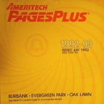 Image of 1992 -1993, Burbank, Evergreen Park and Oak Lawn Telephone Directory - This item is a telephone directory for Burbank, Evergreen Park and Oak Lawn published in July of 1992.  The cover is yellow with red, white and black lettering.