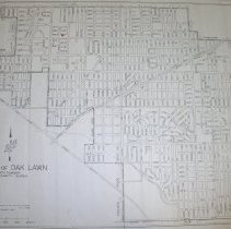 Image of 1965 Map of Oak Lawn - Map of Oak Lawn prepared by the Office of the Village Engineer in January of 1965.  The map has a red mark as well as black and green lines drawn onto it.  There are several large tears near the bottom.