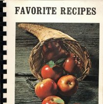 Image of Favorite Recipes  - This item is a cookbook compiled by the Salem Women's Guild of Salem United Church of Christ in 1974.  The cover has an image of a cornucopia with apples.
