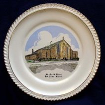 Image of St. Gerald Commemorative Plate - This item is a commemorative plate created for St. Gerald Parish.  There an image of the church structure on the front while the back has a brief history of the parish.