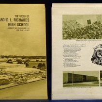 Image of Harold L. Richards High School Dedication Record - This item is a 33 1/3 RPM record featuring the Story of Harold L. Richards High School.  It was produced in 1965, and the cover has a drawing of the newly completed school structure and Harold L. Richards himself.