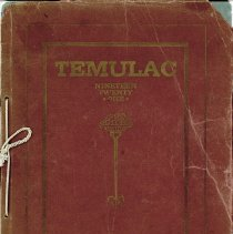 "Image of Calumet High School Yearbook, Temulac, 1921 - This item is a 1921 ""Temulac"" yearbook from Calumet High School in Chicago Illinois.  The cover is red with gold borders and lettering.  Prior to the opening of the Oak Lawn High Schools, some local residents attended Calumet High."