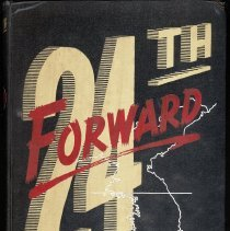 Image of 24th Forward: A Pictorial History of the Victory Division in Korea - This item is a pictorial history of the 24th Division in Korea.  The cover is black with gold and red lettering.  It was owned by Robert L. Ulatoski, an Oak Lawn resident who served during the Korean War.