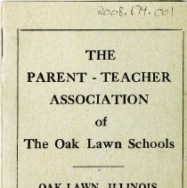Image of Oak Lawn P.T.A. Yearbook, 1939-1940  - This item is the 1939-1940 yearbook for the Oak Lawn P.T.A.  It has a green cover with black lettering.  At the time the organization met in Covington School.