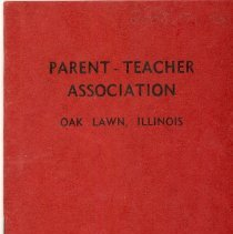 Image of Oak Lawn P.T.A. Yearbook, 1941-1942  - This item is the 1941-1942 yearbook for the Oak Lawn P.T.A. It has a red cover with black lettering.  At the time the organization met in Covington and Oak Lawn (Cook) School.