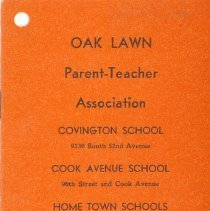 Image of Oak Lawn P.T.A. Yearbook, 1951-1952  - This item is the 1951-1952 yearbook for the Oak Lawn P.T.A.  It has an orange cover with black lettering.  At the time the organization met in Covington and Oak Lawn (Cook) School.