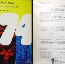 Image of Invitational Festival Concert - This item is a 33 1/3  RPM record featuring the Harold L. Richards High School Treble Choir Festival.  It was recorded and produced by Paul Rainey Recording in 1974.  The cover contains multi-colored pictures.
