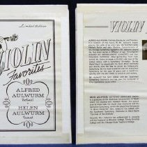 Image of Violin Favorites - This item is a 33 1/3  RPM record featuring Violin Favorites by Alfred and Helen Aulwurm.  The front is in black and white and features an image of a violinist.