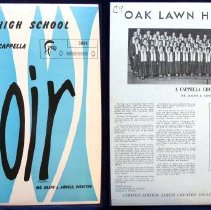 Image of Oak Lawn High School A Cappella Choir - This item is a 33 1/3  RPM record featuring the Oak Lawn Community High A Cappella Choir.  It was recorded in 1963 and distributed by Columbia Records.  The front of the record is blue and white in color.