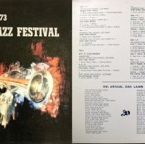 Image of Oak Lawn Jazz Festival, 1973 - This item is a 33 1/3  RPM record featuring the 1973 Oak Lawn Jazz Festival.  It was recorded by Paul Rainey Recording, distributed by Century Records, and the front has an image of a trumpet.  This Festival took place at Oak Lawn Community High School.