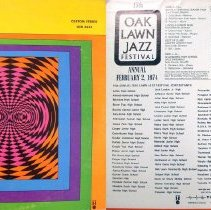 Image of Oak Lawn Jazz Festival, 1974 - This item is a 33 1/3  RPM record featuring the 1974 Oak Lawn Jazz Festival.  It was recorded by Paul Rainey Recording, distributed by United Sound, and the front has multi-colored shapes.  This Festival took place at Oak Lawn Community High School.