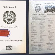 Image of Chicagoland Stage Band Festival, 1969 - This item is a 33 1/3  RPM record featuring the 1969 Chicagoland Stage Band Festival.  It was recorded by Paul Rainey Recording, distributed by Century Records, and the front has images of brass instruments.  The festival took place at Oak Lawn Community High School.