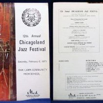 Image of Chicagoland Jazz Festival, 1971 - This item is a 33 1/3  RPM record featuring the 1971 Chicagoland Jazz Festival.  It was recorded by Paul Rainey Recording, distributed by Mark Custom Records, and the front has an image of a musician and instruments.  The festival took place at Oak Lawn Community High School.