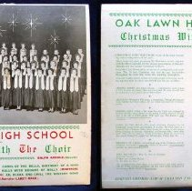 Image of Oak Lawn Community High School Christmas with the Choir, 1961 - This item is a 33 1/3  RPM Christmas record featuring the 1961 Oak Lawn Community High School Choir.  The item was published by Forest Custom Records, and the front has a photo of the choir.