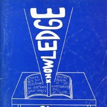 """Image of St. Gerald Yearbook, 1998 - This item is the 1997 - 1998 St. Gerald yearbook. The front is blue and white with the word """"knowledge"""" in large print."""