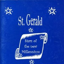 Image of St. Gerald Yearbook, 2000 - This item is the 1999 - 2000 St. Gerald yearbook. The front is blue and white with an image of a scroll.