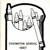 Image of Covington School Yearbook, 1987 - This item is the 1986 - 1987 Covington School yearbook.  The cover has an image of a box of crayons.