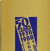 Image of Covington School Yearbook, 1988 - This item is the 1987 - 1988 Covington School yearbook.  The cover is gold with a logo celebrating fifty years of Covington School.