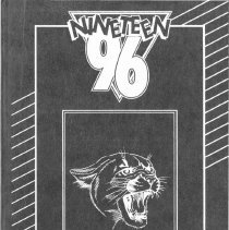 Image of Covington School Yearbook, 1996 - This item is the 1995 - 1996 Covington School yearbook. The cover has an image of the school's mascot along with several lines and shapes.