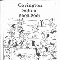 Image of Covington School Yearbook, 2001 - This item is the 2000 - 2001 Covington School yearbook. The cover has an image of children climbing a stack of large books.
