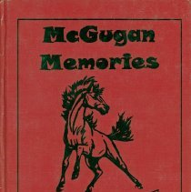 Image of McGugan Yearbook, 1998 - This item is the 1997 - 1998 McGugan Junior High School Yearbook.  The cover is red with an image of a horse.