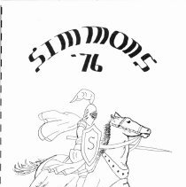 Image of Simmons School Yearbook, 1976 - This item is the 1975 - 1976 yearbook from Simmons School.  The cover has an image of a knight riding a horse.