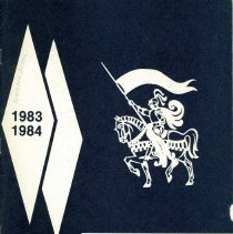 Image of Simmons School Yearbook, 1984 - This item is the 1983 - 1984 yearbook from Simmons School.  The cover has an image of a knight riding a horse.