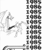 Image of Simmons School Yearbook, 1986 - This item is the 1985 - 1986 yearbook from Simmons School.  The cover has an image of a knight fighting a dragon.