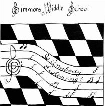 Image of Simmons School Yearbook, 1992 - This item is the 1991 - 1992 yearbook from Simmons School.  The cover has an image of a checker board and musical notes.
