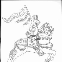 Image of Simmons School Yearbook, 1998 - This item is the 1997 - 1998 yearbook from Simmons School.  The cover has an image of a knight riding on a horse.