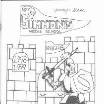Image of Simmons School Yearbook, 1999 - This item is the 1998 - 1999 yearbook from Simmons School.  The cover has an image of a knight standing in front of a castle.