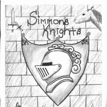 Image of Simmons School Yearbook, 2002 - This item is the 2001 - 2002 yearbook from Simmons School.  The cover has an image of a knight's helmet on a shield.