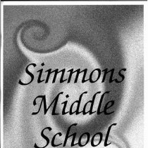 Image of Simmons School Yearbook, 2004 - This item is the 2003 - 2004 yearbook from Simmons School.  The cover has several swirls that are behind the title.