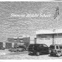 Image of Simmons School Yearbook, 2005 - This item is the 2004 - 2005 yearbook from Simmons School.  The cover has an image of Simmons that is composed of many smaller pictures.