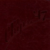 "Image of Blue Island Community High School Yearbook: Chips, 1947 - This item is the 1947 ""Chips"" yearbook for Blue Island Community High School.  The cover is dark red with the image of a bird.  Prior to the opening of the Oak Lawn High Schools, some local residents attended Blue Island High."