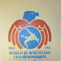 Image of World Jr. Wrestling Championships Poster - This item is a poster for the 1983 World Jr. Wrestling Championships held in Oak Lawn.  The item is red, white and blue in color, and has the logo for the Oak Lawn Park District on it. There is also information about the event.