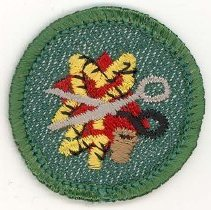 Image of Girl Scout Sewing Merit Badge - This item is a Girl Scout Sewing merit badge owned by local resident Marilyn (Drozdz) Brand.  It is green in color with an image of yarn and scissors near its center.