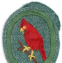 Image of Girl Scout Cardinal Troop Crest Badge - This item is a Girl Scout Cardinal Troop Crest badge owned by local resident Marilyn (Drozdz) Brand. It is green in color with an image of a Cardinal near its center.