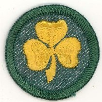 Image of Girl Scout First Class Badge - This item is a Girl Scout First Class badge owned by local resident Marilyn (Drozdz) Brand. It is green in color with an image of a yellow clover near its center.