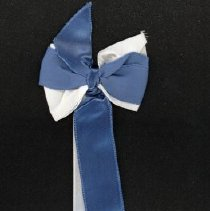 Image of St. Gerald Graduation Ribbon - This item is a St. Gerald graduation ribbon from 1956.  It is white and dark blue in color with gold lettering toward the bottom.  The ribbon is split into two separate pieces, and was owned by local resident Marilyn Brand.