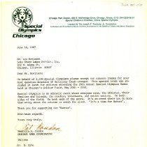 Image of Thank You Letter from the Special Olympics to Lou Novinson
