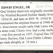 Image of Engel, Edwin Sr. - Oral History Interview - This item is an oral history interview with resident Edwin Engel Senior.  It covers his life and experiences in Oak Lawn, and the interview is approximately seventeen minutes in length.
